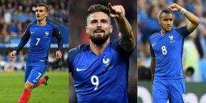 Euro 2016 top goalscorers - Griezmann 4, Giroud 3, Payet 3